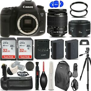 Canon EOS 7D Mark II DSLR Camera + 18-55mm STM + 50mm II + BATT GRIP - 64GB KIT