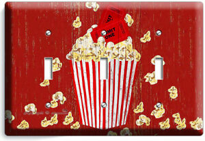 POP CORN TV ROOM HOME MOVIE THEATER RUSTIC 3 GANG LIGHT SWITCH WALL PLATES DECOR