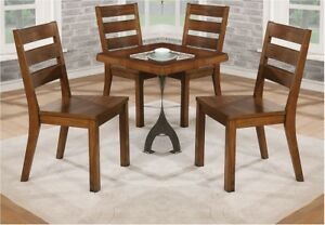 Industrial Style Warm Wood Tones Slat Back Chairs Side Chairs 6p Set Dining Room