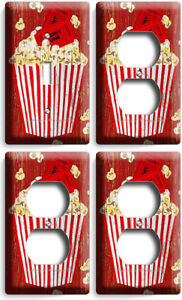 RETRO POP CORN TV ROOM HOME MOVIE THEATER 1 LIGHT SWITCH 3 OUTLET PLATE HD DECOR