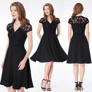 Alisa Pan US Short Black Lace Cocktail Dresses Business V-neck Dress Daily 04032