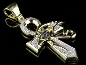 Yellow Gold Plated Black Eye of Horus Ankh Cross Pendant In 925 Sterling Silver