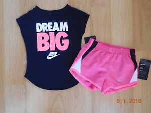 Nike 2 Pc Outfit Set Shimmer Tee Shirt & Dri Fit Shorts Toddler Girls 2T NWT