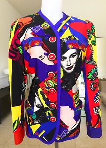 iconic GIANNI VERSACE Vogue printed silk jacket Pop Art size USA 10 from 1991