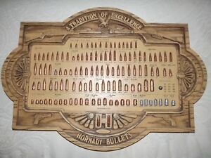 Vintage Hornady Bullet Board Gun Store Display Collection Lead Bullets Man Cave