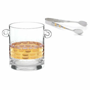 Michael Wainwright Truro Gold Glass Ice Bucket with Gold Ice Tongs