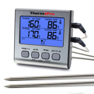ThermoPro Digital Meat Cooking Thermometer Grill Smoker BBQ Thermometer 2 Probes