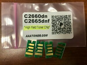 4 x Toner Chip BCMY for Dell C2660dn C2665dnf Color Laser Printer Refill