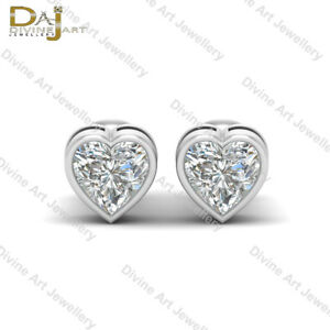 Diamond Heart Earrings Anniversary Gift For Womens Bridal Jewelry Wedding Gift