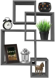 Greenco 4 Cube Intersecting Wall Mounted Floating Shelves Finish Gray