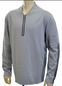 NIKE GOLF men's $100 Dri-fit Wool Blend Tech Shirt LS 12 zip Grey 619821 L #33