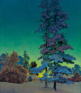 Maxfield Parrish Winter Night Landscape Giclee Canvas Print Paintings Poster