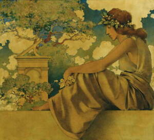 Maxfield Parrish Seated Woman Giclee Canvas Print Paintings Poster Reproduction