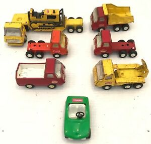 Lot Of 7 Vintage Tiny Tonka Pressed Steel Plastic Construction Vehicles Trailers