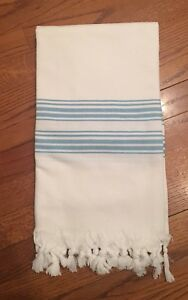 Cuyana Turkish Towel Blue & White Stripe w Tassels Cotton & Bamboo Beach Towel