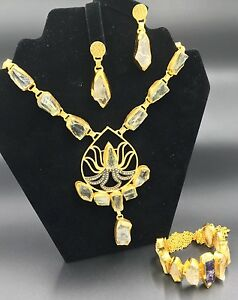 Zeyzey Handmade Necklace Bracelet and Earring Crystal Quartz Set   New