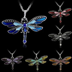 Vintage Crystal Animal Dragonfly Butterfly Necklace Pendant Jewelry Party Gifts