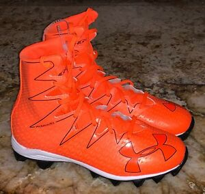 UNDER ARMOUR UA Highlight RM Jr Hyper Orange Football Cleats NEW Youth Boys 4.5