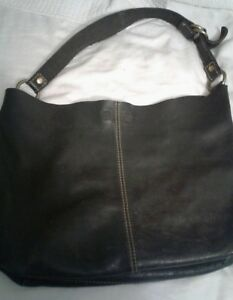 Lucky Brand Black Leather Hobo bag. Brass tone rings on strap. BEAUTIFUL!