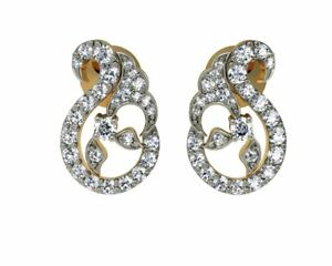 Peacock Shaped Diamond Stud Earrings in 18kt Yellow Gold For Gifts in Wedding
