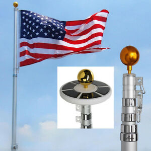 25ft Flag Pole Kit Telescopic Aluminum Flagpole with Solar Lights Fly 2 Flags