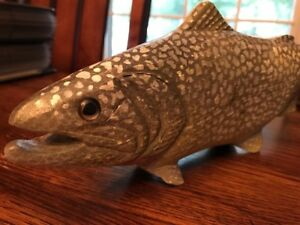 Hand Painted Carved Wooden Wood Lake Trout Decoy Brook Rainbow Dave Kober Fish