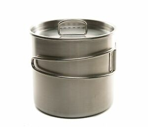 DZO Camping Hiking Outdoor Cookware Set – 20 oz & 25 oz Stainless Steel Cooki...
