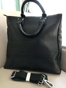 Zara Men Black Leather Business BagTote With Shoulder Strap new with tags