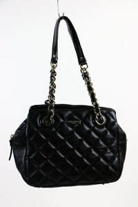 Kate Spade Black Quilted Leather Chain Strap Three Compartment Shoulder Bag