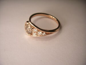 Unique Designer 14K Pink Rose Gold Solitaire Champagne Diamond Engagement Ring