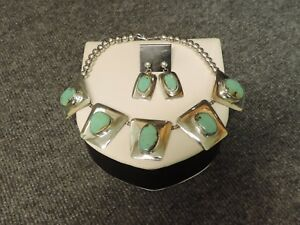 .925 Sterling Silver and Turquoise Necklace and Earring set (112.24g)
