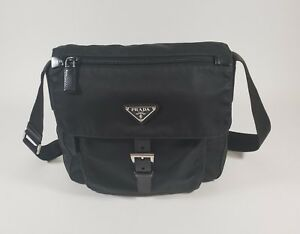 Authentic Prada Black Nylon Leather Shoulder Bag Purse Handbag Made in Italy