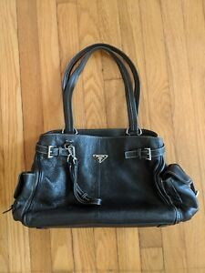 Prada Black Leather Handbag Purse Lightly Used with Authenticity Certificate