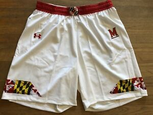 Authentic Game Worn 2018 Maryland Terps Lacrosse White Shorts Under Armour XXL