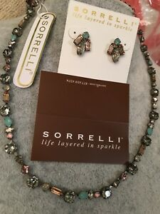 New Sorrelli Crystal MOSS Necklace & Earring Set beautiful neutral set RV $230