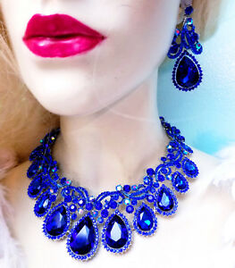 Blue Rhinestone Austrian Crystal Choker Necklace Earring Set Pageant Drag Prom