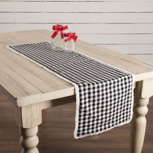 New Cottage Chic Farmhouse Retro Vintage Black Gingham Check Table Runner 48quot;