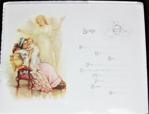 Stone Lithograph Repro Edwardian Victorian Antique Angel Name Birth Certificate