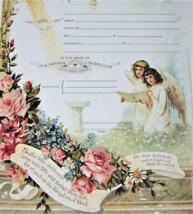 """Baptism Certificate Stone Lithograph Repro Victorian Antique Angel Gift 11"""" x 14"""