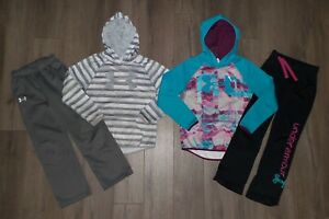 Girl's Lot 4 UNDER ARMOUR STORM Fleece Hoodies Sweat Pants Size Youth Small YSM