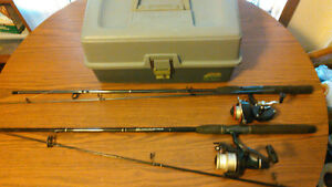 Complete Fishing Setup - 2 Rods Reels and Full Tackle Box