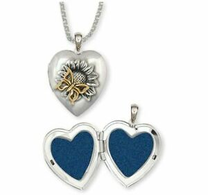 Sunflower And Butterfly Photo Locket Jewelry Silver And 14k Gold Handmade Flower