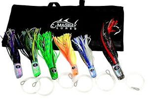 MagBay Lures TUNA & DOLPHIN MAHI LURE SET Fully Rigged 6 Lures + Large 6 Pck Bag