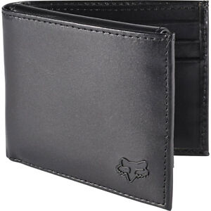 Fox Racing Men's Leather Bifold Wallet Black Money Credit Card Coin Two Fold