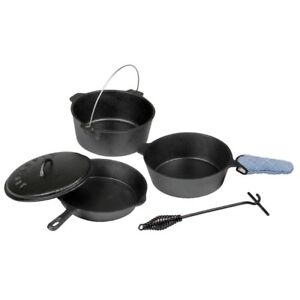 Camping Outdoor 6 Piece Cast Iron Cookware Set for Camp Fire Cooking Lid Lifter