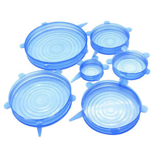 Silicone Stretch Lids 6 Pack Suction Lid Multi Size Stretchable Covers Blue