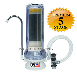Premium 5 Stage CounterTop Water Filtration Filter Home Drinking System Clear RV