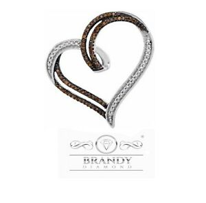 Brandy Diamond® Chocolate Brown Silver Double My Heart Floating Pendant Necklace