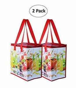 Insulated Reusable Grocery Bag Shopping Tote w Zipper Top Lid SET OF 2
