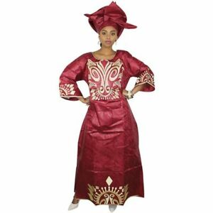 African Dresse For Women Bazin Riche Embroidery Design Long Dress